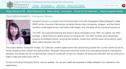 Home page of Immigrant Stories